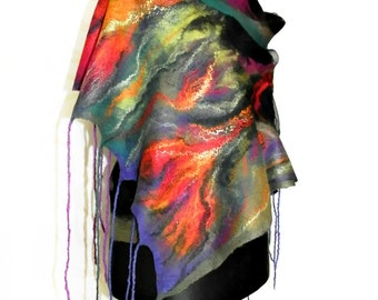 Nuno felted  shawl . Nuno Felted Shawl, Art Felted Wool and Silk Scarf