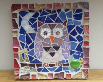 owl and moon mosaic tile
