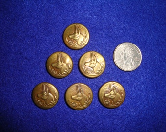 VINTAGE GERMAN EDELWEISS Chamois Ibex Alpine Goat 1930's-1940's Trachten Sportsman Picture Buttons Lot Of Six - Free Shipping #3
