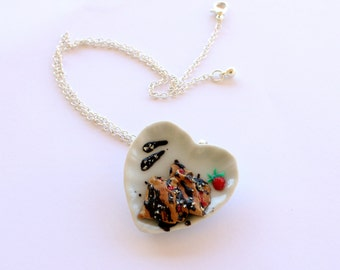 Food necklace, crepes dessert necklace, polymer clay food, foodie gift, kawaii choker,wife girlfriend necklace gift,miniature food