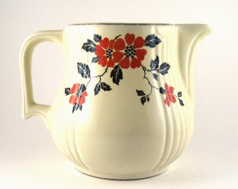 vintage Hall china pitcher - Hall Red Poppy Radiance jug - vintage china jug - handled pitcher - pitcher with handle - floral jug