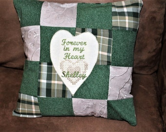 Upcycled clothing pillow, Memory pillow, handmade, custom, personalized, sympathy pillow, grief, mourning, quilt, pillow from clothing