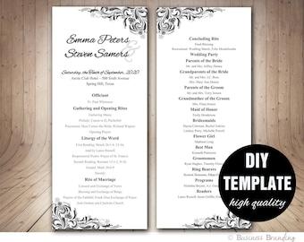 Elegant Wedding Program Template,DIY Silver Wedding,Elegant Wedding Program,Silver Wedding Program,Silver Program,Grey Program
