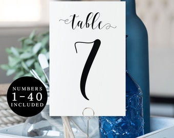 Elegant table numbers printable Table numbers 1-40 Modern table numbers Wedding table number cards Simple wedding Boho wedding DIY #vm31