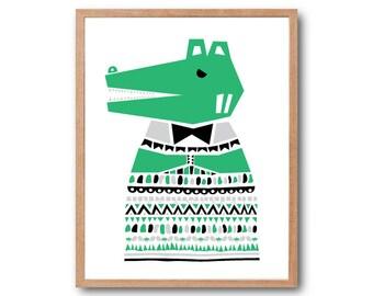 SWEATER Alligator Art Print, Woodland Nursery, Crocodile Print, Animal Illustration, Safari Nursery, Children Room decor, Kids room art