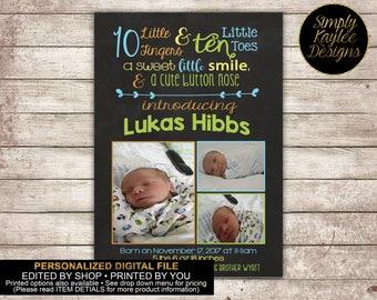Chalkboard Style Boys Birth Announcement Photo Cards
