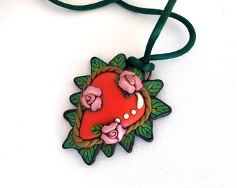 Sacred Heart with three pink roses pendant by Marie Segal 2010