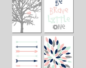 Canvas Nursery Art TRIBAL Nursery Art Canvas Arrow Nursery Decor Canvas GIRL Nursery Art Pink Mint Navy Be Brave Little One  Set of 4 Canvas