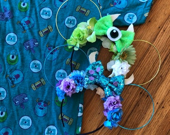 Mike and Sully Ears | Mike Wasowski Ears | Sully Ears | Monsters Inc Ears | Wire Ears | Mouse Ears