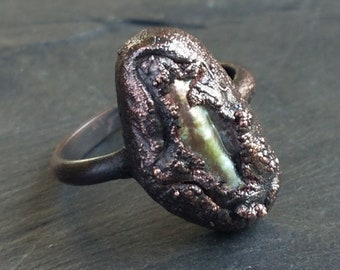 Biwa Pearl Ring - Electroformed Copper - Size 6 1/2 - discounted price