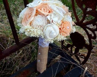 Peach and cream bouquet   sola bouquet   rustic wedding bouquet   beach bouquet   beach wedding   keepsake bouquet   alternative bouquet
