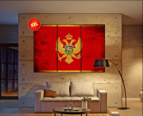 Montenegro flag canvas art print large  canvas print Montenegro flag country flag Wall Home office decor interior Office Decor