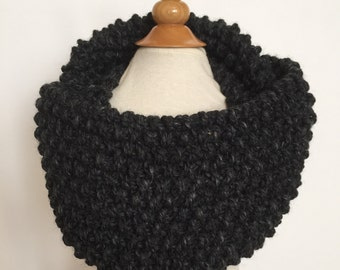 classic moss stitch knit cowl/scarf/infinity scarf for adults ~ acrylic/wool ~ charcoal ~ great holiday gift ~ from lillybelle designs
