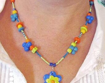 Flower Garden Necklace Handmade Beads