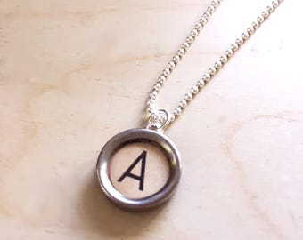 Letter A Typewriter Key Jewelry Charm Necklace. Off-white Initial A.  NO GLUE. Sterling silver.