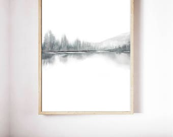 Extra Large Watercolor Landscape Print Art, 60x42 inch Archival Print, Fine Art Giclee, Tones of Grey and Black Art, Vertical Print Abstract