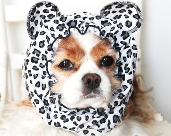 Snow Leopard Ears Dog Snood / Stay-Put 3 Rows Elastic Thread / Pet Hat / Long ear covering / Specialty Snood