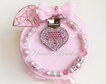Pacifier clip made with Swarovski Crystals, Beads and Pearls - Baby Shower Gift - Heart Metal Clips - Designed by Neonilla Berdar