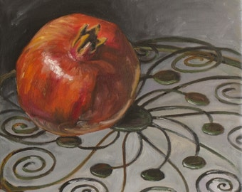 Pomegranate, Kitchen Still Life, Oil Painting, Square Painting