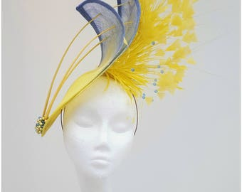 Yellow hatinator, blue hat, yellow fascinator, Mother of the Bride Headpiece,Royal Ascot Fascinator, Wedding hat, Kentucky Derby Fascinator,