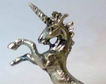 """Vintage Pewter Miniature 3"""" tall Unicorn Figurine"""
