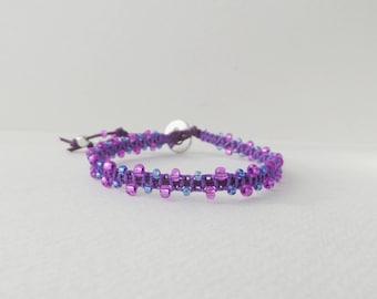Purple Bracelet, Beaded Macrame Bracelet, Cotton Cord Bracelet, Casual Friendship Bracelet, Violet and Blue Beaded, Clasp Bracelet, BFF gift