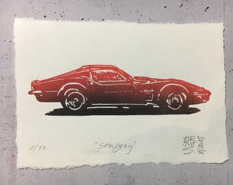 Corvette Stingray red or blue - original linocut print with watercolor