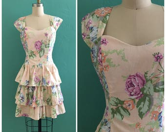 vintage 90's floral pastel spring dress //  tiered ruffle skirt dress