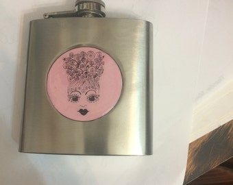 Pink Retro Glamour Girl Silver Flask -- 6 ounces