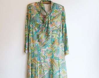 Vintage hippie retro sixties paisley boho dress S