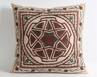 Hand Embroidery Bohemian Suzani Pillows cover Beige green red