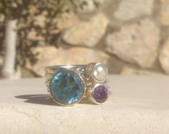 Gemstone Stacking Rings, US 8.25 Aquamarine, Amethyst & Pearl Gemstone Set of Silver Stacking Rings, Birthstone Rings, Mothers Rings