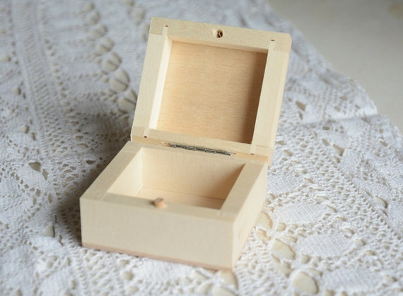 Small Wooden Box Natural Unfinished Wood Box Plain Hinged