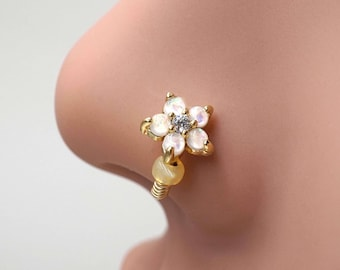 White Opal Flower Gold Nose Hoop Nose Ring 20G Gold Nose Ring