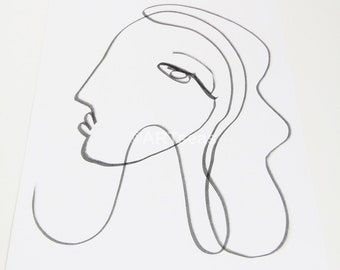 """Abstract Face; Minimalist Face; Female Face; """"Faces"""" series; """"Bella""""  Art Print; printed on 100% Cotton Rag Paper;"""