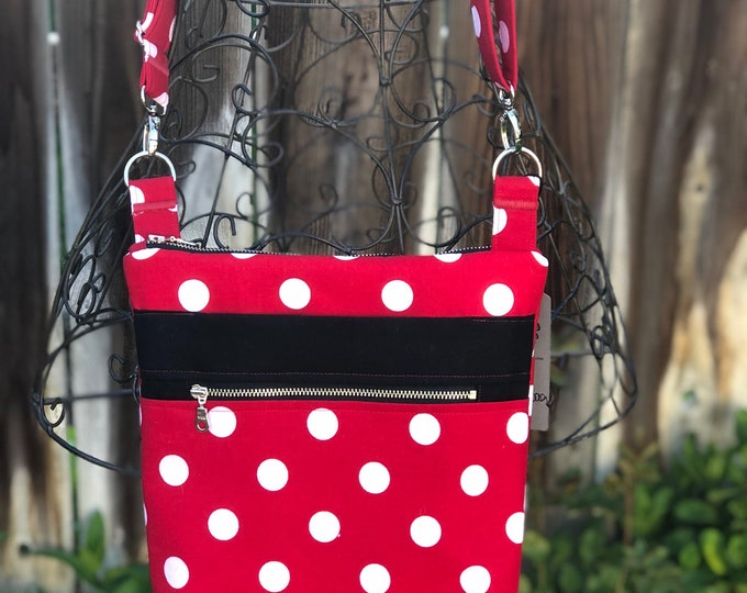 Cross Body Bag, Across The Body Bag, Red and White Polka Dot Cross Body Purse, Adjustable strap, long handle purse, Zippered Travel Purse