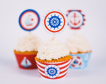 Nautical Party toppers and cupcake wrappers, sailor party, party paper decoration, Birthday Party Package, printables, printing party decor