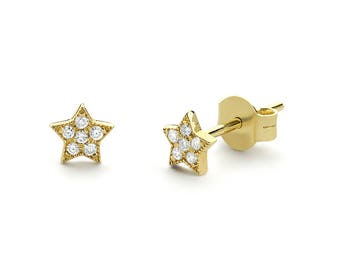 Tiny Star Earrings/ Diamond Star Earrings in 14k Solid Gold/ Tiny Diamond Earrings/ Tiny Stud Earrings/ Tiny Diamond Studs/ Graduation Gift