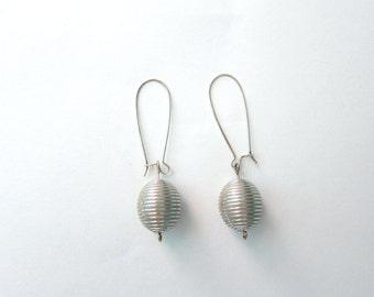 Metallic Silver Stripe Oval Bead Earrings Silver Plated Kidney Ear Wires