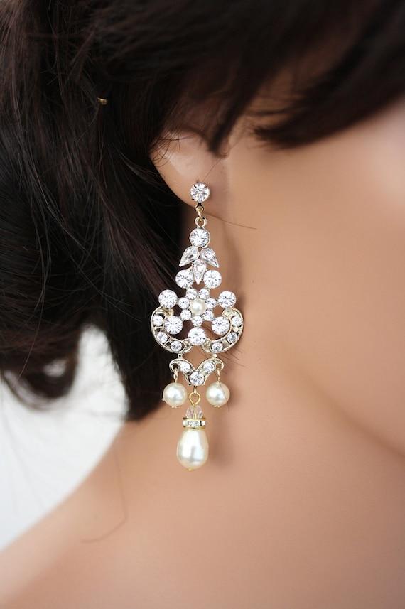 Wedding Jewelry Wedding Earrings Crystal Chandelier Earrings