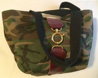 Army fatigue denim bag