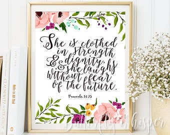 Proverbs 31:25, She is clothed in strength and dignity, Best top selling item Nursery Bible verse print Nursery Scripture Christian wall art