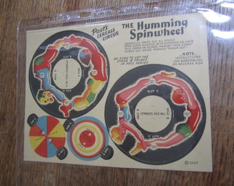Super Rare Post's Cereal Circus New Old Stock. Unused. The HUMMING SPINWHEEL.