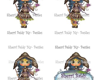 Instant Download MB Green Witch of OZ colored printable  3D Decoupage kit Besties Big Head Dolls Digi By Sherri Baldy