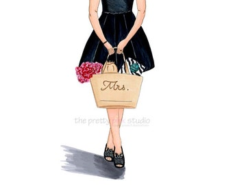Fashion illustration, Custom print, Personalized wedding gift, Custom artwork, Personalized illustration, Personalised name, Custom gift