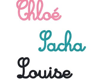 Personalized name font Cursive in Flex fusible - size and color choice