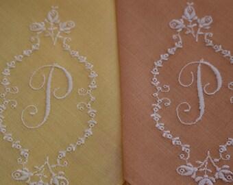 Ladies Hankies, Vintage Hankerchief, Embroidered Hanky, Initial P, Initialed Hankies, Colored Hankys, White Embroidery, Pair Handkerchiefs