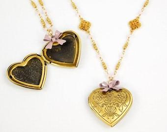 Heart Locket Pendant with Organza Tie