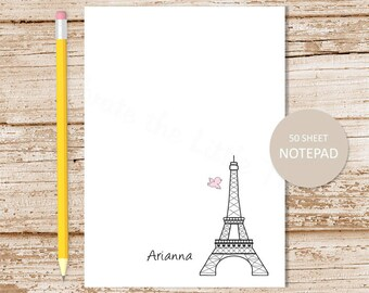 eiffel tower personalized notepad . eiffel tower note pad . personalized stationery . paris france stationary