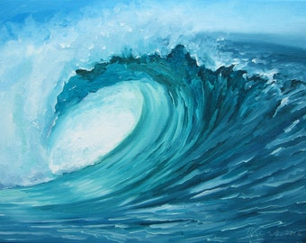 """GICLEE reproduction on 8 1/2 x 11"""" fine art PAPER - Curling Wave series 1 (wave, barrel, tube)"""